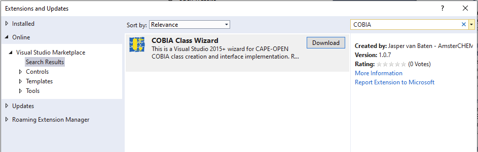 Shows how to obtain COBIA Class Wizard from within Visual Studio 2017